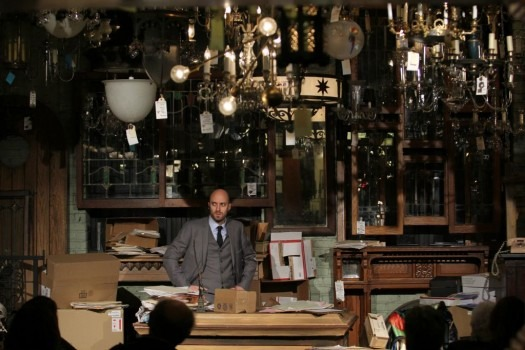 The natural decor of Architectural Antiques in Minneapolis provides a powerful set backdrop for The Abraham Play.
